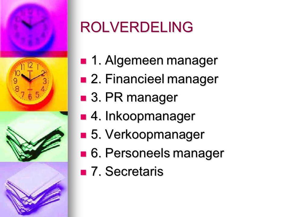 ROLVERDELING 1. Algemeen manager 1. Algemeen manager 2.