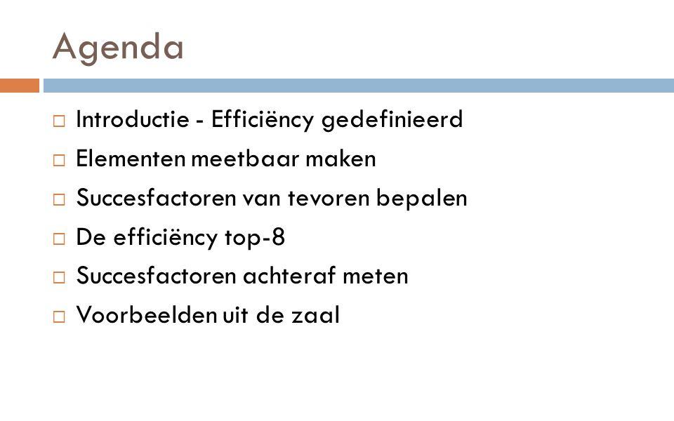 Agenda  Introductie - Efficiëncy gedefinieerd  Elementen meetbaar maken  Succesfactoren van tevoren bepalen  De efficiëncy top-8  Succesfactoren achteraf meten  Voorbeelden uit de zaal