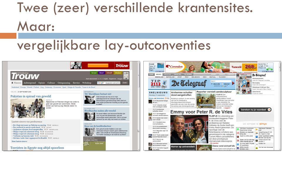 Twee (zeer) verschillende krantensites. Maar: vergelijkbare lay-outconventies