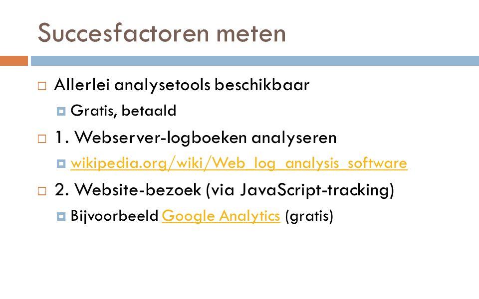 Succesfactoren meten  Allerlei analysetools beschikbaar  Gratis, betaald  1.