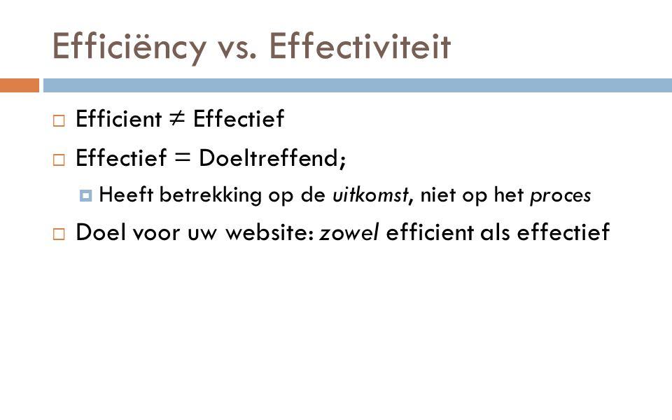 Efficiëncy vs.