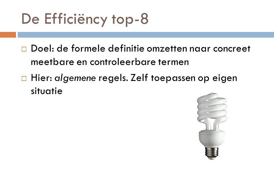 De Efficiëncy top-8  Doel: de formele definitie omzetten naar concreet meetbare en controleerbare termen  Hier: algemene regels.