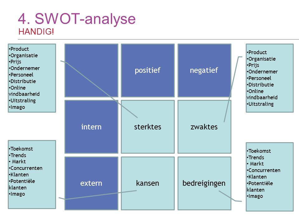 4. SWOT-analyse HANDIG! 18 positiefnegatief intern extern sterkteszwaktes bedreigingenkansen Product Organisatie Prijs Ondernemer Personeel Distributi