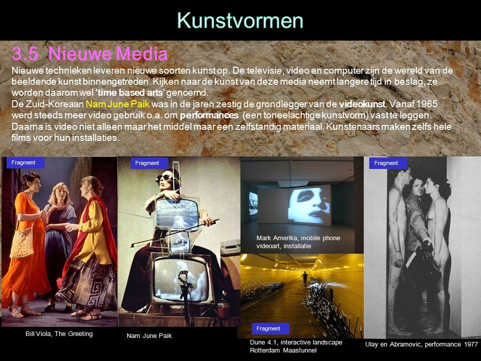 3.5 Nieuwe Media Nieuwe technieken leveren nieuwe soorten kunst op.