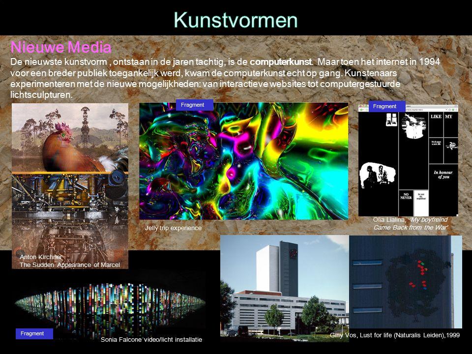 Nieuwe Media De nieuwste kunstvorm, ontstaan in de jaren tachtig, is de computerkunst.