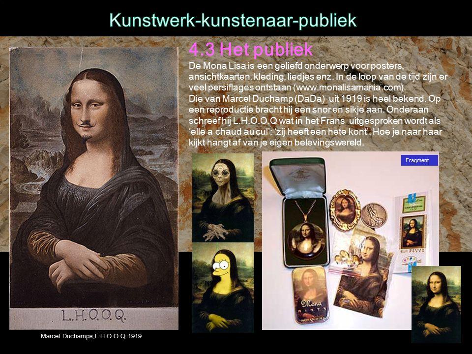 4.3 Het publiek De Mona Lisa is een geliefd onderwerp voor posters, ansichtkaarten, kleding, liedjes enz.