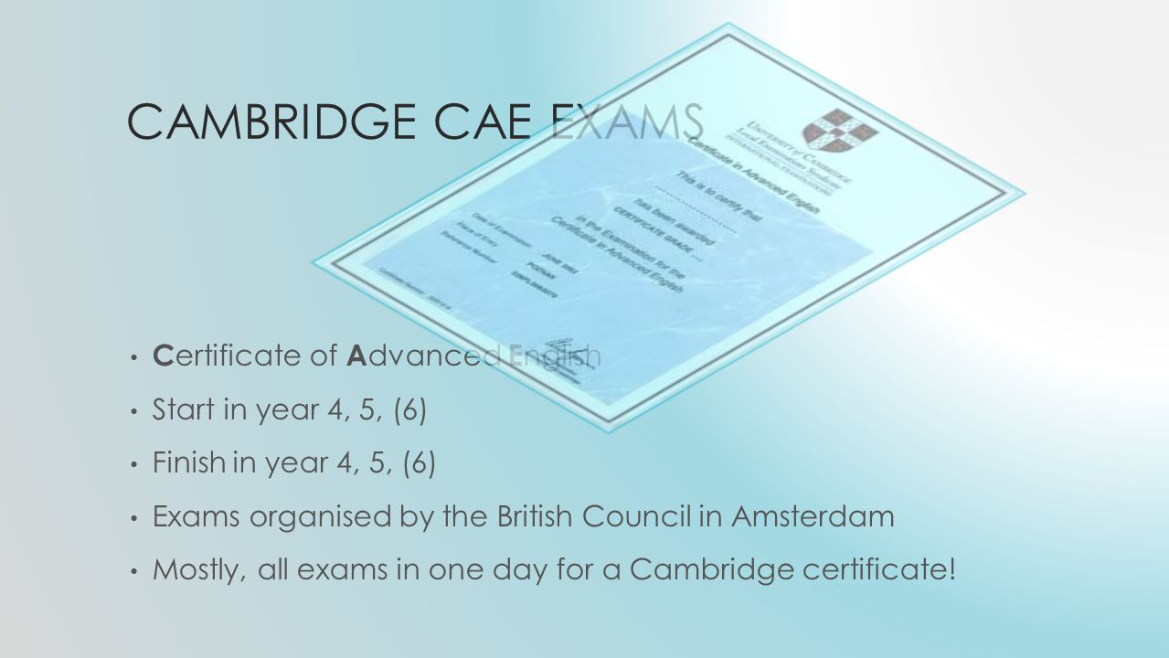 CAMBRIDGE CAE EXAMS C ertificate of A dvanced E nglish Start in year 4, 5, (6) Finish in year 4, 5, (6) Exams organised by the British Council in Amsterdam Mostly, all exams in one day for a Cambridge certificate!