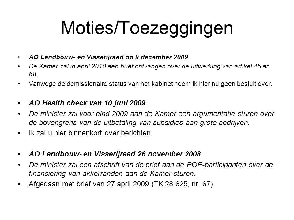 Moties/Toezeggingen AO Landbouw- en Visserijraad op 9 december 2009 De Kamer zal in april 2010 een brief ontvangen over de uitwerking van artikel 45 en 68.