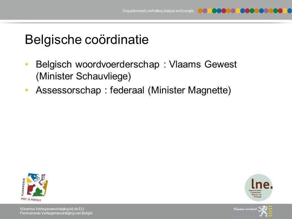 Vlaamse Vertegenwoordiging bij de EU Permanente Vertegenwoordiging van België Departement Leefmilieu, Natuur en Energie Belgische coördinatie Belgisch woordvoerderschap : Vlaams Gewest (Minister Schauvliege) Assessorschap : federaal (Minister Magnette)