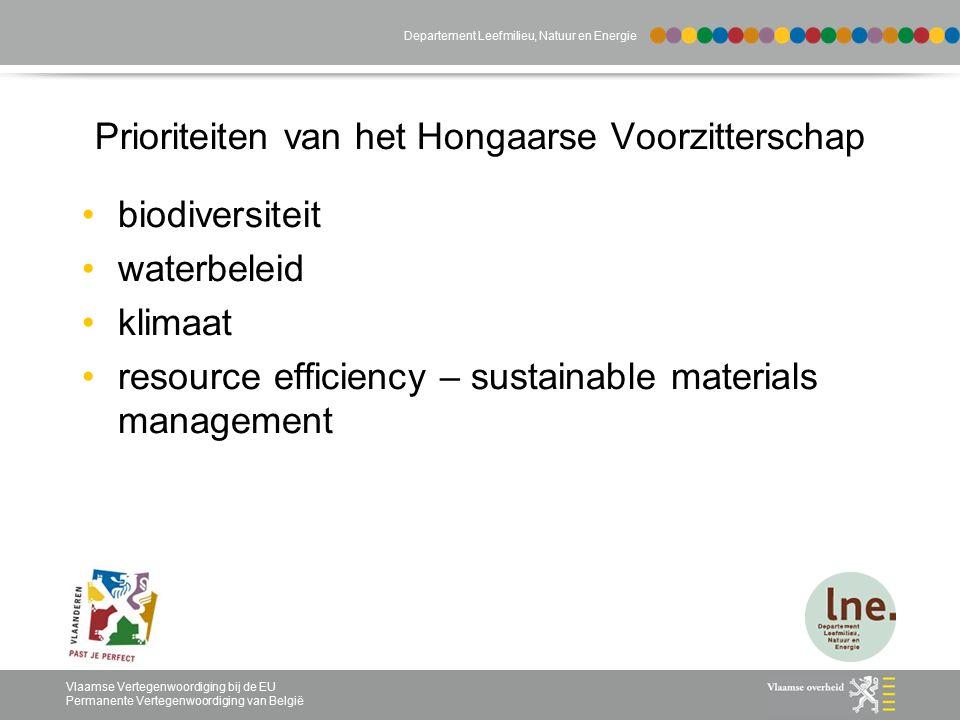 Vlaamse Vertegenwoordiging bij de EU Permanente Vertegenwoordiging van België Departement Leefmilieu, Natuur en Energie Prioriteiten van het Hongaarse Voorzitterschap biodiversiteit waterbeleid klimaat resource efficiency – sustainable materials management