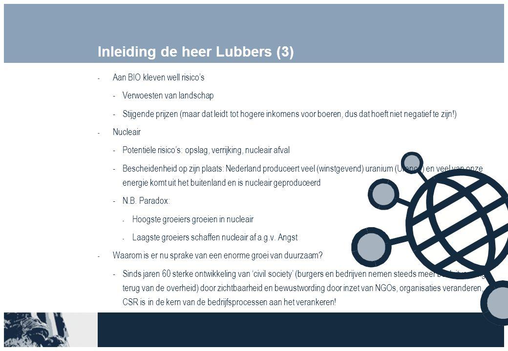 Inleiding de heer Lubbers (3)  Aan BIO kleven well risico's Verwoesten van landschap Stijgende prijzen (maar dat leidt tot hogere inkomens voor boeren, dus dat hoeft niet negatief te zijn!)  Nucleair Potentiële risico's: opslag, verrijking, nucleair afval Bescheidenheid op zijn plaats: Nederland produceert veel (winstgevend) uranium (Urenco) en veel van onze energie komt uit het buitenland en is nucleair geproduceerd N.B.