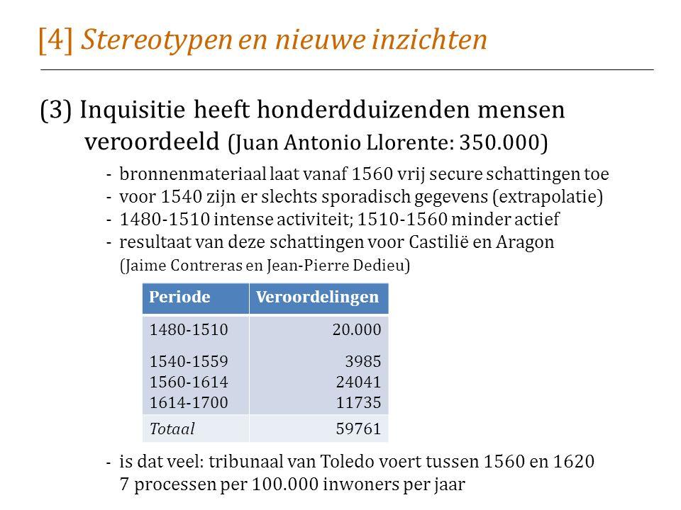 [4] Stereotypen en nieuwe inzichten (3) Inquisitie heeft honderdduizenden mensen veroordeeld (Juan Antonio Llorente: 350.000) -bronnenmateriaal laat vanaf 1560 vrij secure schattingen toe -voor 1540 zijn er slechts sporadisch gegevens (extrapolatie) -1480-1510 intense activiteit; 1510-1560 minder actief -resultaat van deze schattingen voor Castilië en Aragon (Jaime Contreras en Jean-Pierre Dedieu) - is dat veel: tribunaal van Toledo voert tussen 1560 en 1620 7 processen per 100.000 inwoners per jaar PeriodeVeroordelingen 1480-1510 1540-1559 1560-1614 1614-1700 20.000 3985 24041 11735 Totaal59761