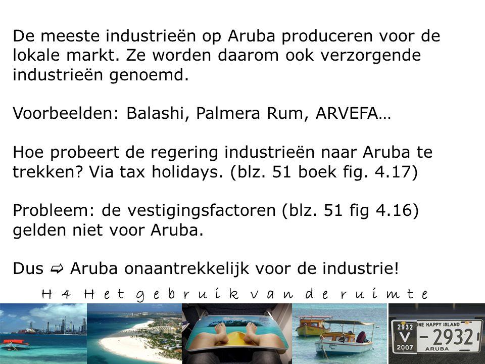 H 4 H e t g e b r u i k v a n d e r u i m t e De meeste industrieën op Aruba produceren voor de lokale markt.