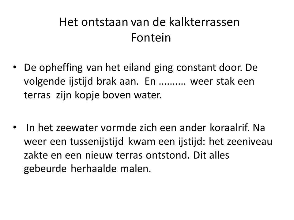 Het ontstaan van de kalkterrassen Fontein De opheffing van het eiland ging constant door.