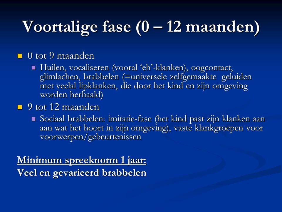 Voortalige fase (0 – 12 maanden) 0 tot 9 maanden 0 tot 9 maanden Huilen, vocaliseren (vooral 'eh'-klanken), oogcontact, glimlachen, brabbelen (=univer