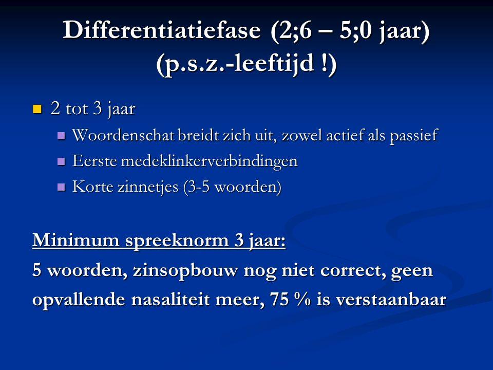 Differentiatiefase (2;6 – 5;0 jaar) (p.s.z.-leeftijd !) 2 tot 3 jaar 2 tot 3 jaar Woordenschat breidt zich uit, zowel actief als passief Woordenschat
