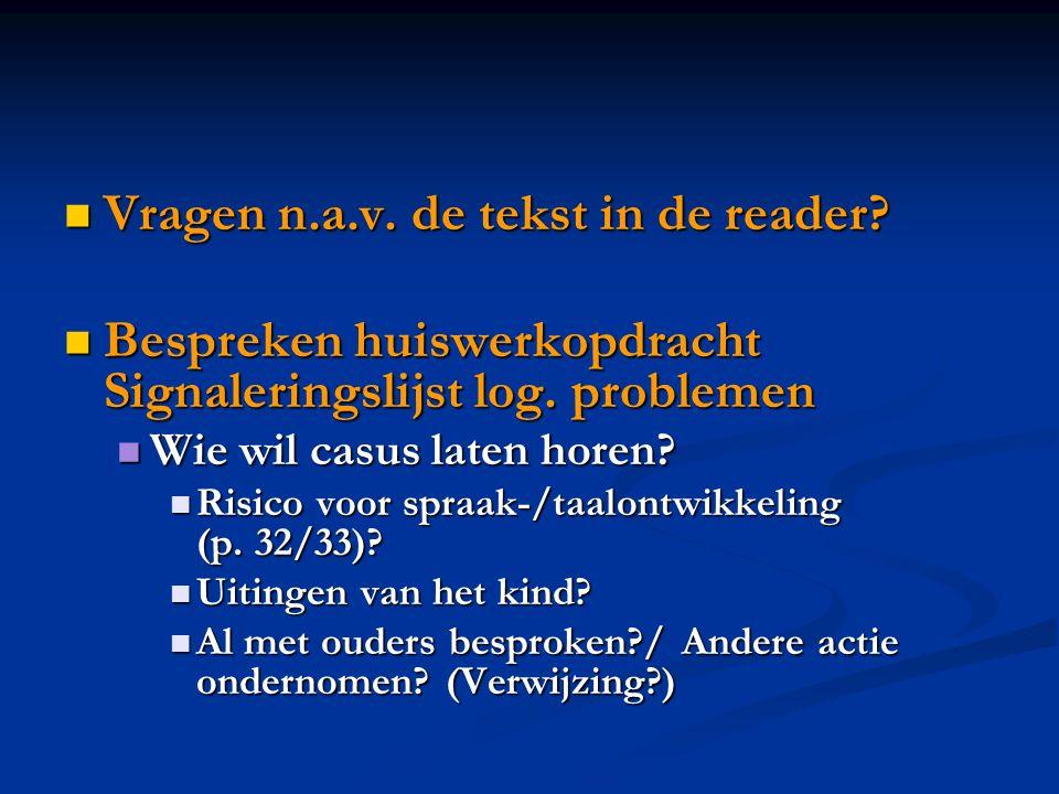 Vragen n.a.v. de tekst in de reader? Vragen n.a.v. de tekst in de reader? Bespreken huiswerkopdracht Signaleringslijst log. problemen Bespreken huiswe