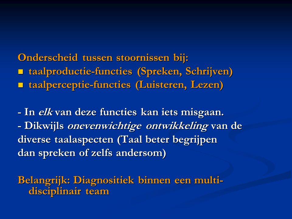 Onderscheid tussen stoornissen bij: taalproductie-functies (Spreken, Schrijven) taalproductie-functies (Spreken, Schrijven) taalperceptie-functies (Lu
