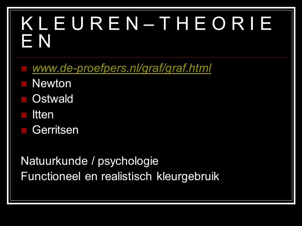 K L E U R E N – T H E O R I E E N www.de-proefpers.nl/graf/graf.html Newton Ostwald Itten Gerritsen Natuurkunde / psychologie Functioneel en realistisch kleurgebruik
