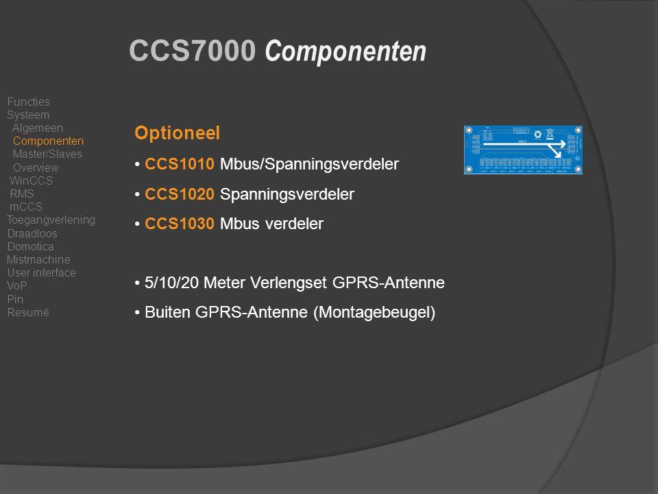 CCS7000 Componenten Optioneel CCS1010 Mbus/Spanningsverdeler CCS1020 Spanningsverdeler CCS1030 Mbus verdeler 5/10/20 Meter Verlengset GPRS-Antenne Buiten GPRS-Antenne (Montagebeugel) Functies Systeem Algemeen Componenten Master/Slaves Overview WinCCS RMS mCCS Toegangverlening Draadloos Domotica Mistmachine User interface VoP Pin Resumé