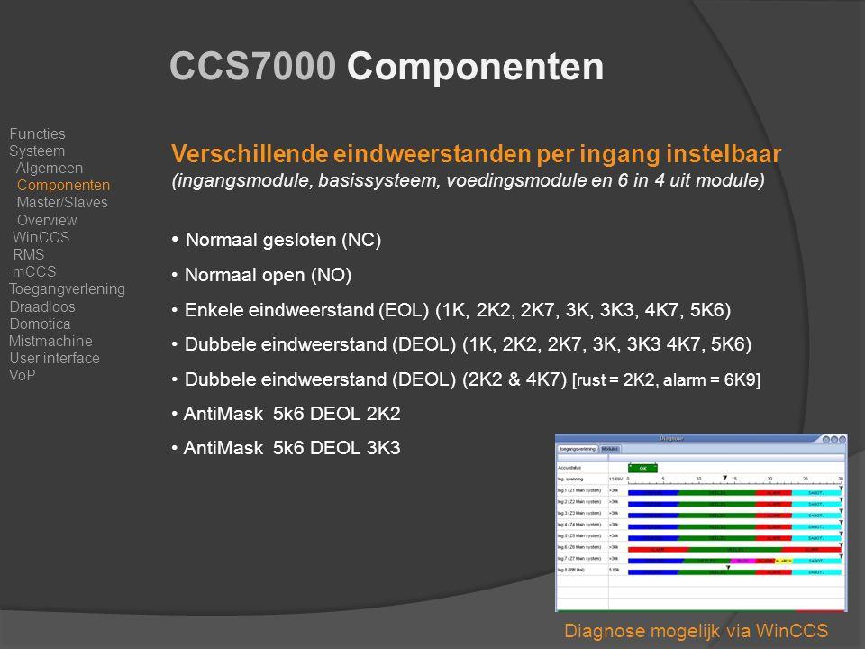 Verschillende eindweerstanden per ingang instelbaar (ingangsmodule, basissysteem, voedingsmodule en 6 in 4 uit module) Normaal gesloten (NC) Normaal open (NO) Enkele eindweerstand (EOL) (1K, 2K2, 2K7, 3K, 3K3, 4K7, 5K6) Dubbele eindweerstand (DEOL) (1K, 2K2, 2K7, 3K, 3K3 4K7, 5K6) Dubbele eindweerstand (DEOL) (2K2 & 4K7) [rust = 2K2, alarm = 6K9] AntiMask 5k6 DEOL 2K2 AntiMask 5k6 DEOL 3K3 Functies Systeem Algemeen Componenten Master/Slaves Overview WinCCS RMS mCCS Toegangverlening Draadloos Domotica Mistmachine User interface VoP Pin Resumé Diagnose mogelijk via WinCCS CCS7000 Componenten