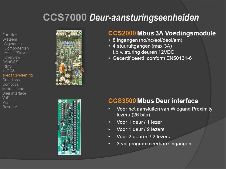 CCS7000 Deur-aansturingseenheiden CCS2000 Mbus 3A Voedingsmodule 8 ingangen (no/nc/eol/deol/am) 4 stuuruitgangen (max 3A) t.b.v.