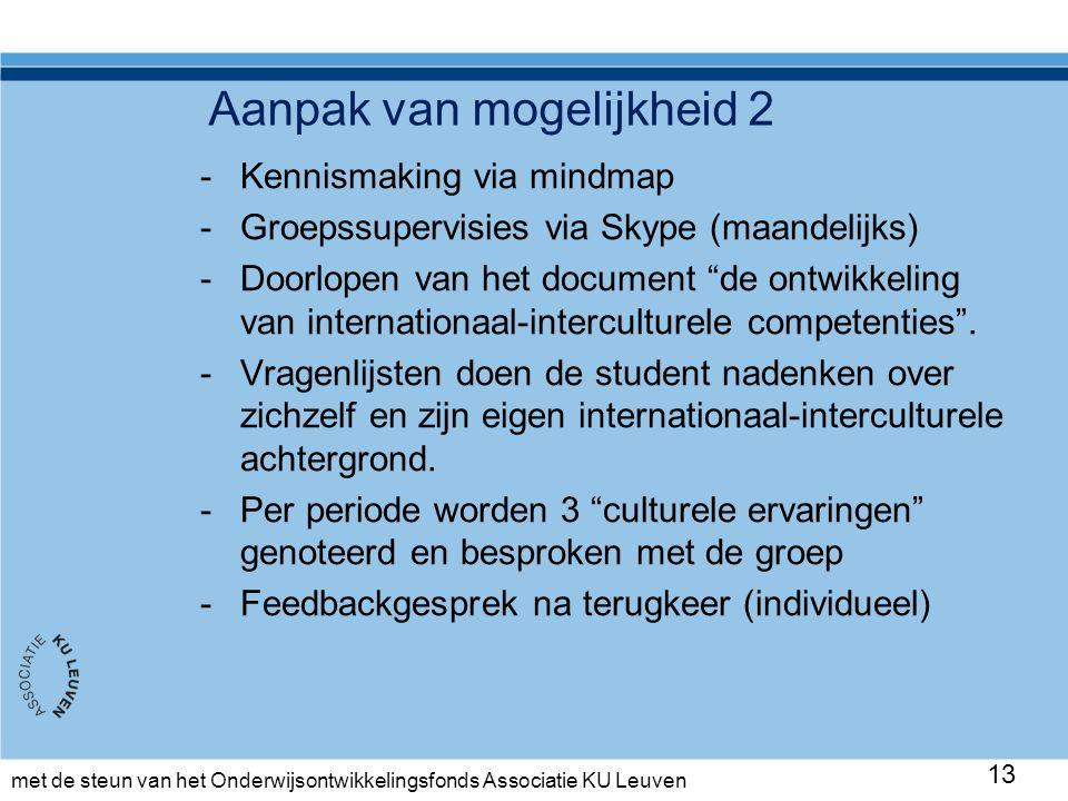 met de steun van het Onderwijsontwikkelingsfonds Associatie KU Leuven Aanpak van mogelijkheid 2 -Kennismaking via mindmap -Groepssupervisies via Skype (maandelijks) -Doorlopen van het document de ontwikkeling van internationaal-interculturele competenties .