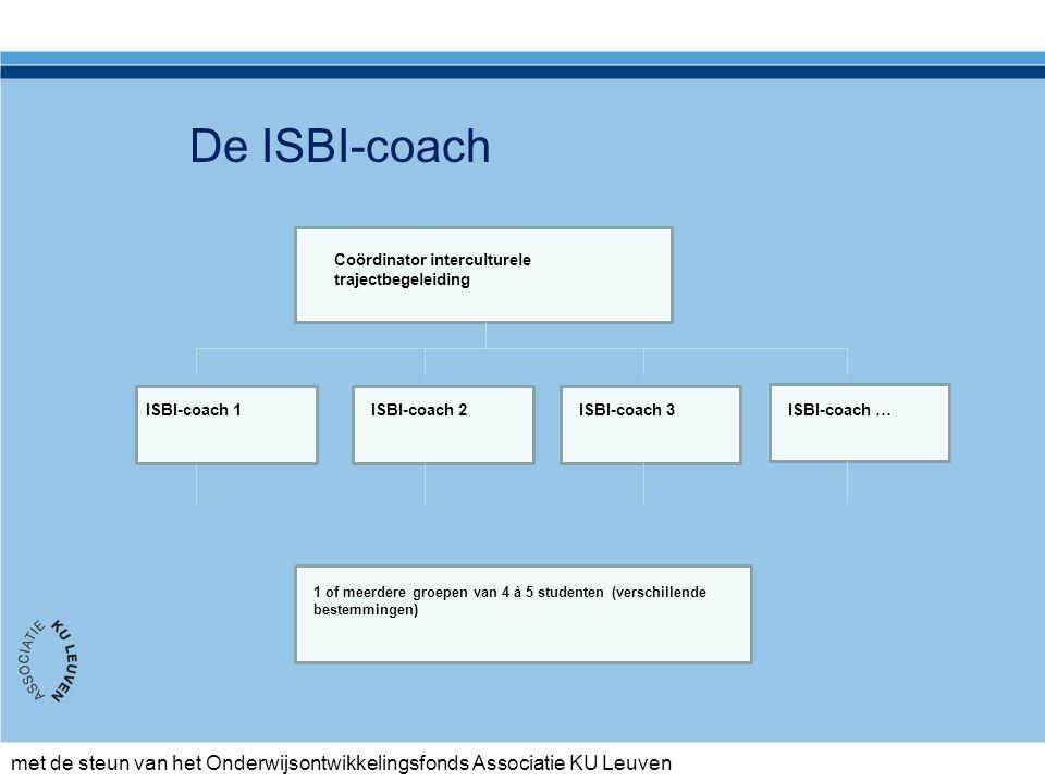 met de steun van het Onderwijsontwikkelingsfonds Associatie KU Leuven Coördinator interculturele trajectbegeleiding ISBI-coach 1ISBI-coach 2ISBI-coach 3ISBI-coach … 1 of meerdere groepen van 4 à 5 studenten (verschillende bestemmingen) De ISBI-coach