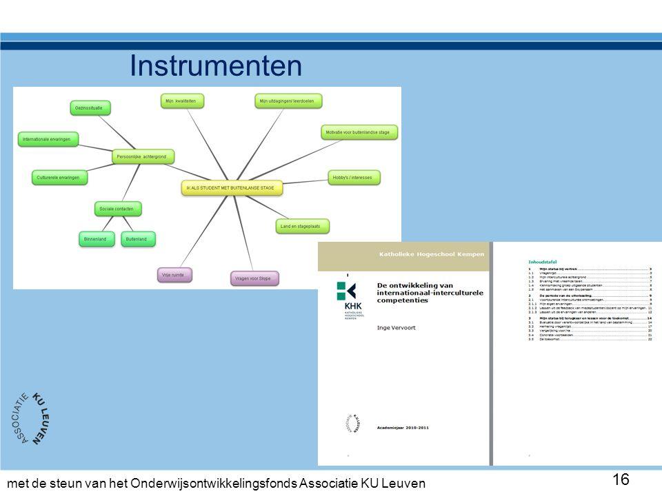 met de steun van het Onderwijsontwikkelingsfonds Associatie KU Leuven Instrumenten 16
