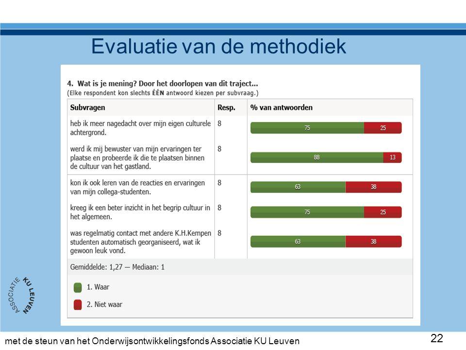 met de steun van het Onderwijsontwikkelingsfonds Associatie KU Leuven Evaluatie van de methodiek 22