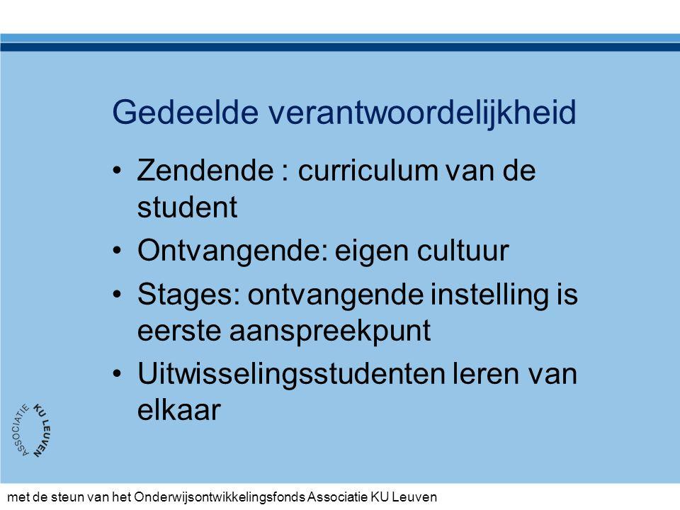 met de steun van het Onderwijsontwikkelingsfonds Associatie KU Leuven Gedeelde verantwoordelijkheid Zendende : curriculum van de student Ontvangende: eigen cultuur Stages: ontvangende instelling is eerste aanspreekpunt Uitwisselingsstudenten leren van elkaar
