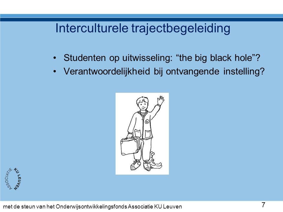 met de steun van het Onderwijsontwikkelingsfonds Associatie KU Leuven Oefensessie Concrete momenten afspreken Taken plannen op toledo (mindmap, interculturele ervaringen 1x per maand) Gesprek van 1 uur Coach fungeert als moderator
