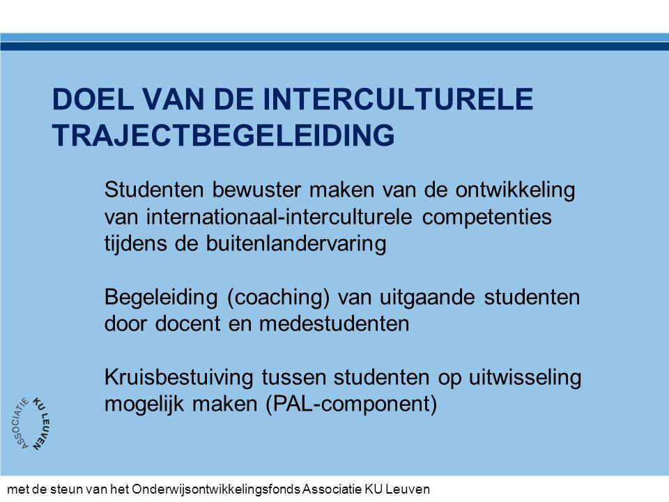 met de steun van het Onderwijsontwikkelingsfonds Associatie KU Leuven Na terugkeer Evaluatiedocument Terugkeergesprek Opname van internationaal- interculturele competenties in het (e)-portfolio