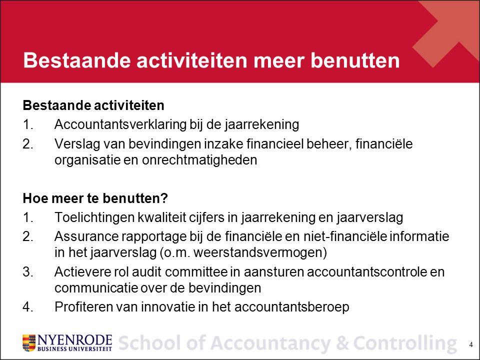 4 Bestaande activiteiten meer benutten Bestaande activiteiten 1.Accountantsverklaring bij de jaarrekening 2.Verslag van bevindingen inzake financieel beheer, financiële organisatie en onrechtmatigheden Hoe meer te benutten.