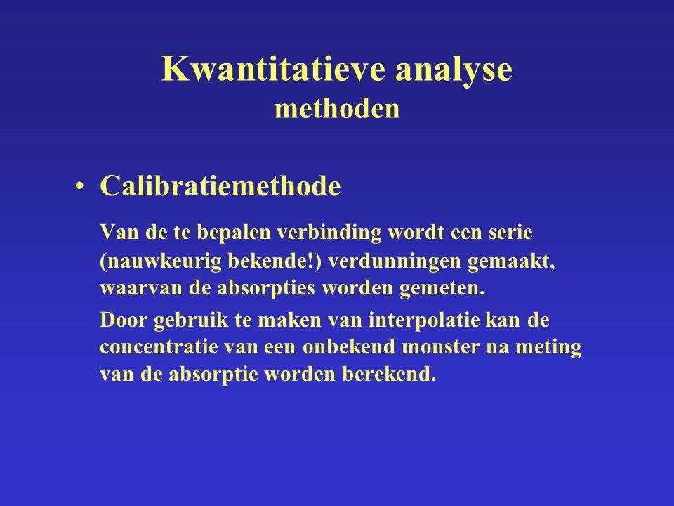Kwantitatieve analyse methoden Calibratiemethode Van de te bepalen verbinding wordt een serie (nauwkeurig bekende!) verdunningen gemaakt, waarvan de absorpties worden gemeten.