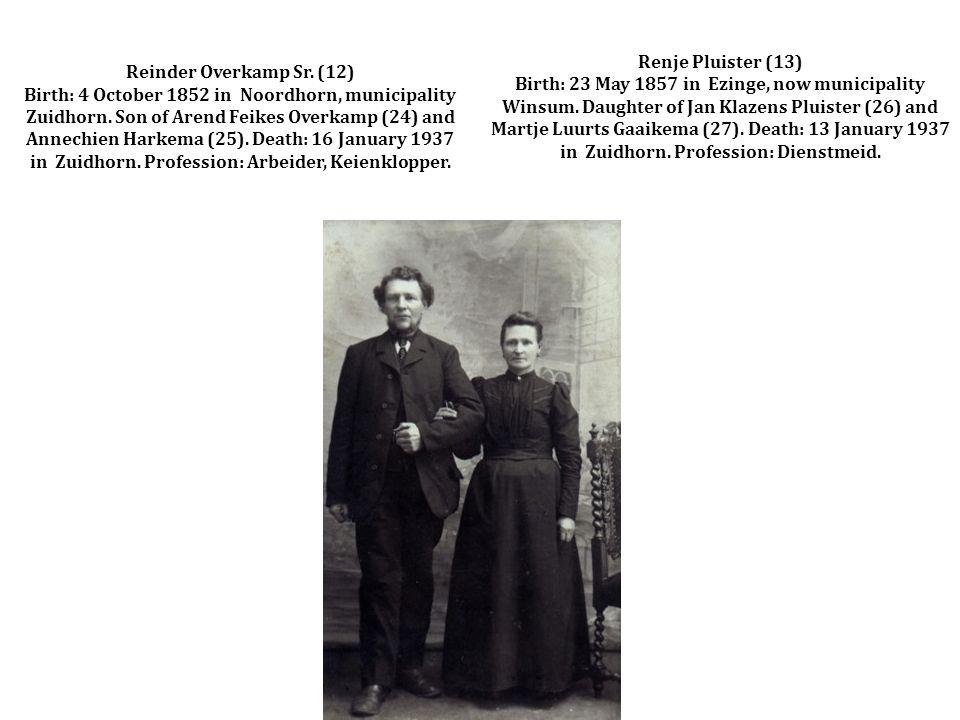Reinder Overkamp Sr. (12) Birth: 4 October 1852 in Noordhorn, municipality Zuidhorn.
