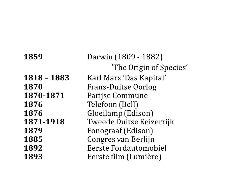 1859 Darwin (1809 - 1882) The Origin of Species' 1818 – 1883Karl Marx 'Das Kapital' 1870Frans-Duitse Oorlog 1870-1871Parijse Commune 1876Telefoon (Bell) 1876 Gloeilamp (Edison) 1871-1918Tweede Duitse Keizerrijk 1879Fonograaf (Edison) 1885Congres van Berlijn 1892Eerste Fordautomobiel 1893Eerste film (Lumière)