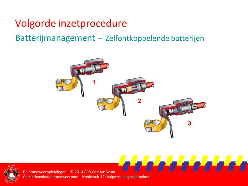De brandweeropleidingen – © 2010 APB Campus Vesta Cursus kandidaat brandweerman – Hoofdstuk 12: hulpverleningsopdrachten Volgorde inzetprocedure Batterijmanagement – Zelfontkoppelende batterijen 1 2 3