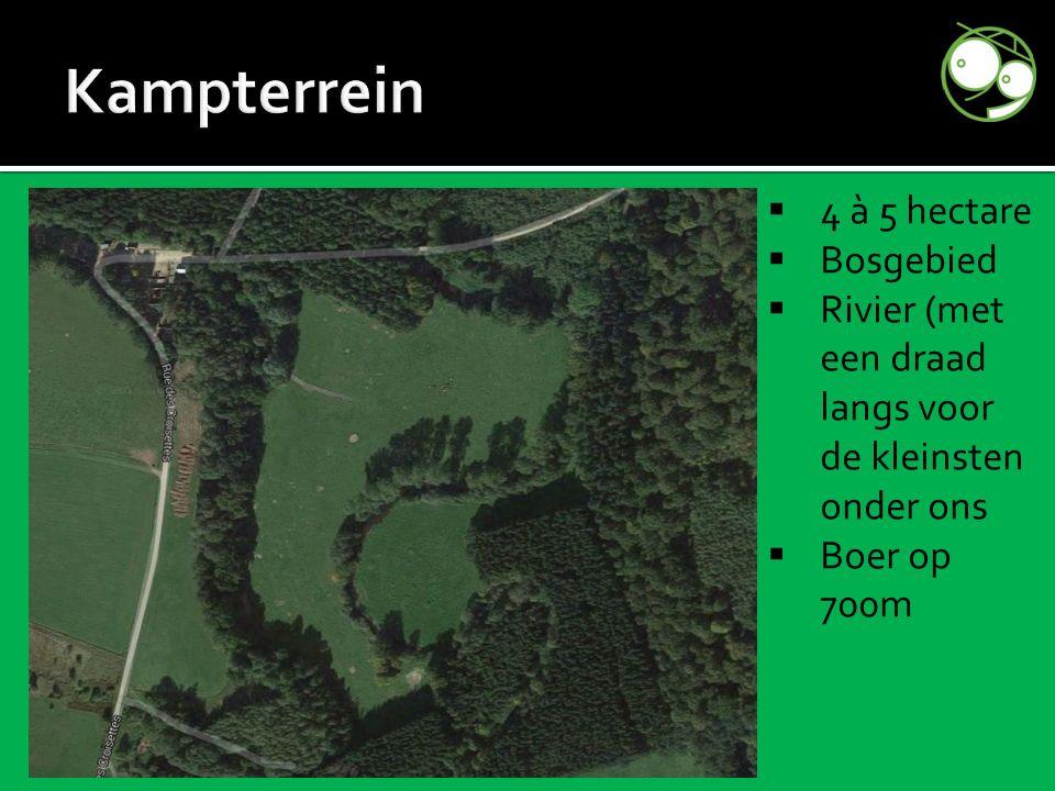  4 à 5 hectare  Bosgebied  Rivier (met een draad langs voor de kleinsten onder ons  Boer op 700m