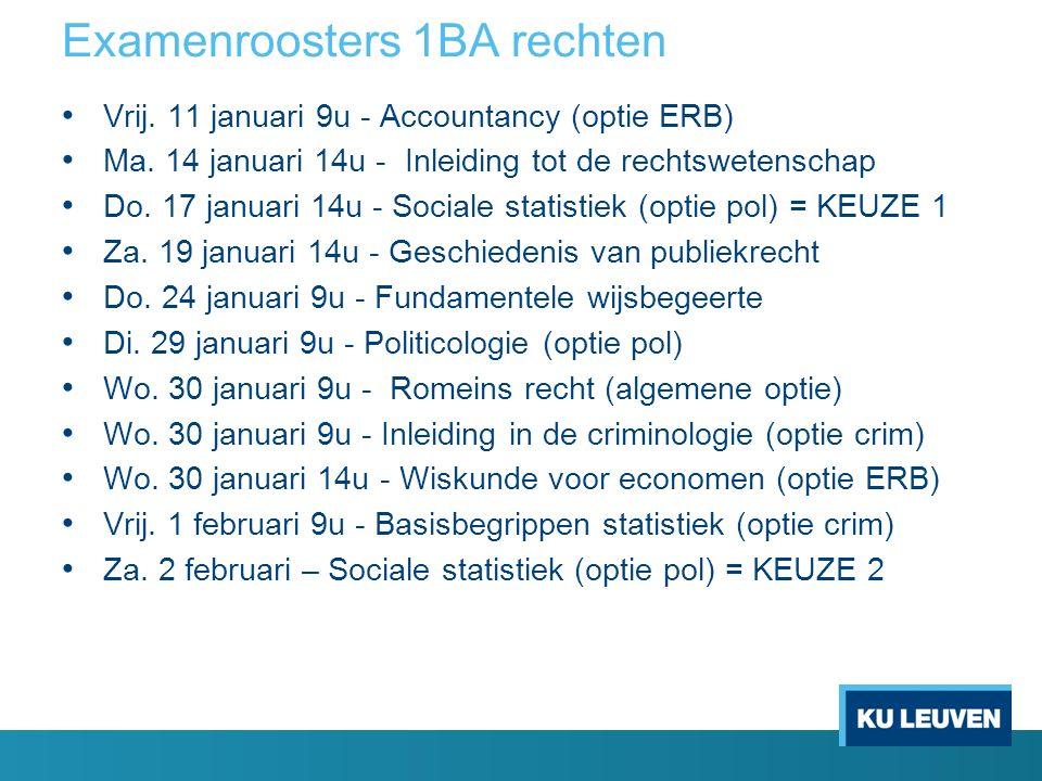 Examenroosters 1BA rechten Vrij. 11 januari 9u - Accountancy (optie ERB) Ma.