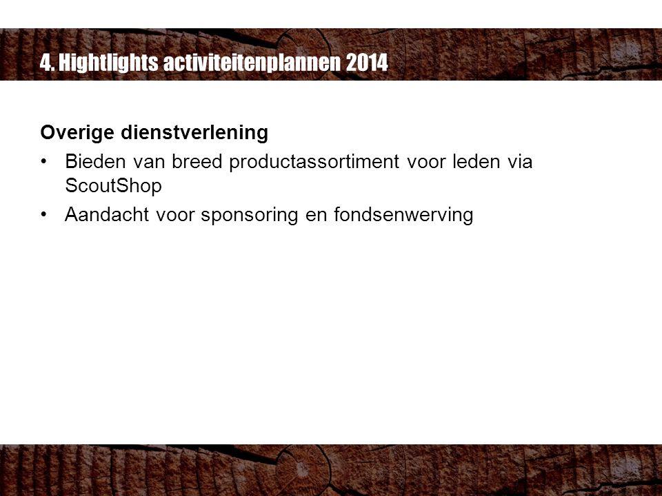 4. Hightlights activiteitenplannen 2014 Overige dienstverlening Bieden van breed productassortiment voor leden via ScoutShop Aandacht voor sponsoring