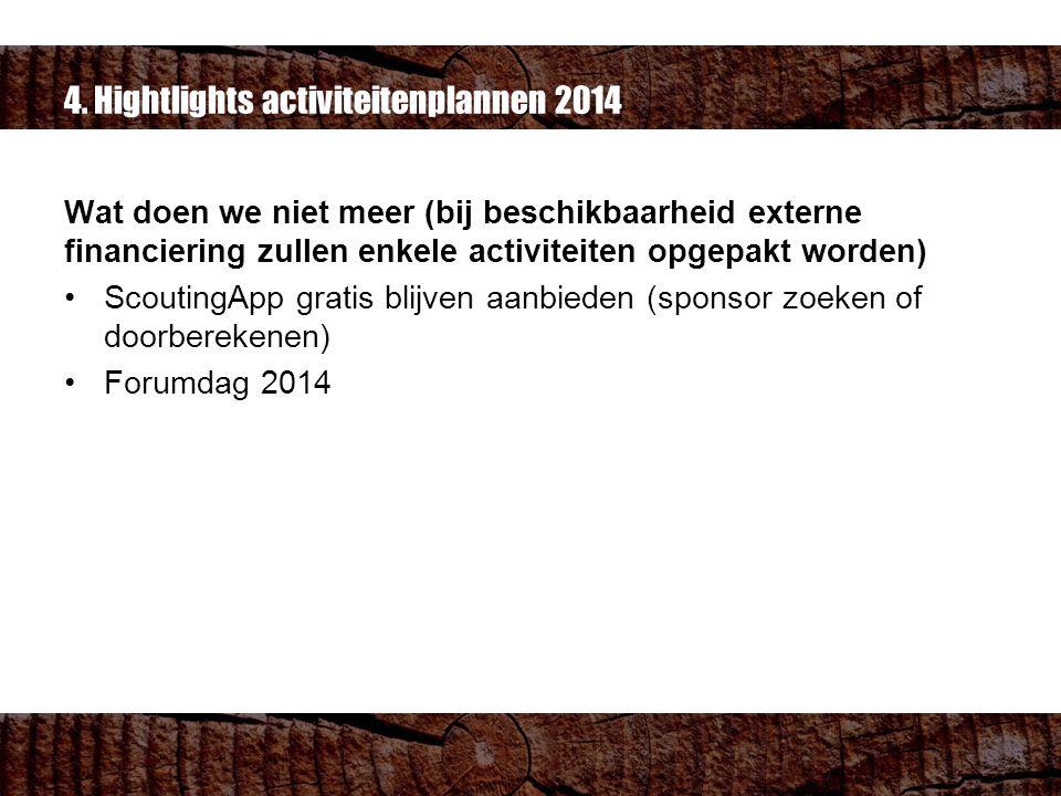 4. Hightlights activiteitenplannen 2014 Wat doen we niet meer (bij beschikbaarheid externe financiering zullen enkele activiteiten opgepakt worden) Sc