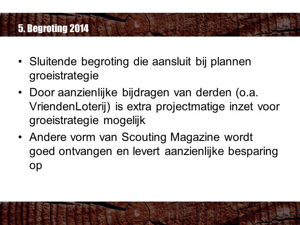 5. Begroting 2014 Sluitende begroting die aansluit bij plannen groeistrategie Door aanzienlijke bijdragen van derden (o.a. VriendenLoterij) is extra p