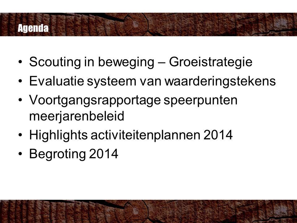 Agenda Scouting in beweging – Groeistrategie Evaluatie systeem van waarderingstekens Voortgangsrapportage speerpunten meerjarenbeleid Highlights activiteitenplannen 2014 Begroting 2014