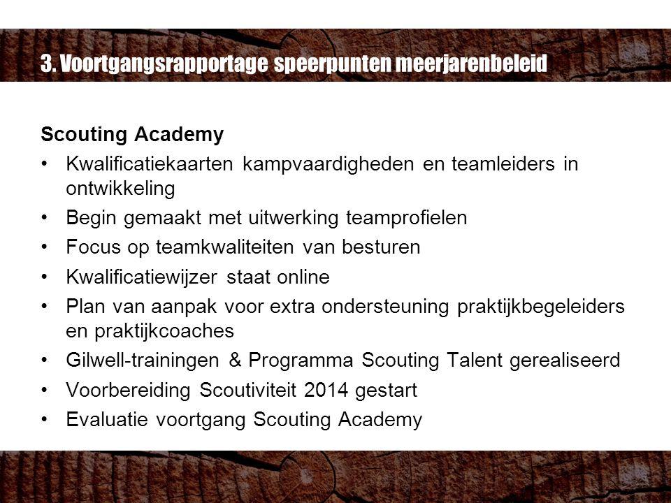 3. Voortgangsrapportage speerpunten meerjarenbeleid Scouting Academy Kwalificatiekaarten kampvaardigheden en teamleiders in ontwikkeling Begin gemaakt