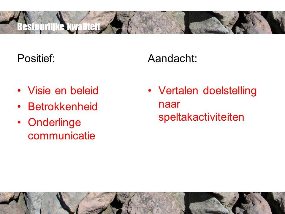 Bestuurlijke kwaliteit Positief: Visie en beleid Betrokkenheid Onderlinge communicatie Aandacht: Vertalen doelstelling naar speltakactiviteiten