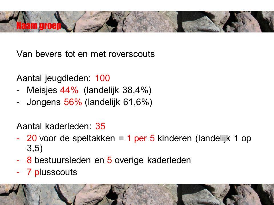 Van bevers tot en met roverscouts Aantal jeugdleden: 100 -Meisjes 44% (landelijk 38,4%) -Jongens 56% (landelijk 61,6%) Aantal kaderleden: 35 -20 voor de speltakken = 1 per 5 kinderen (landelijk 1 op 3,5) -8 bestuursleden en 5 overige kaderleden -7 plusscouts