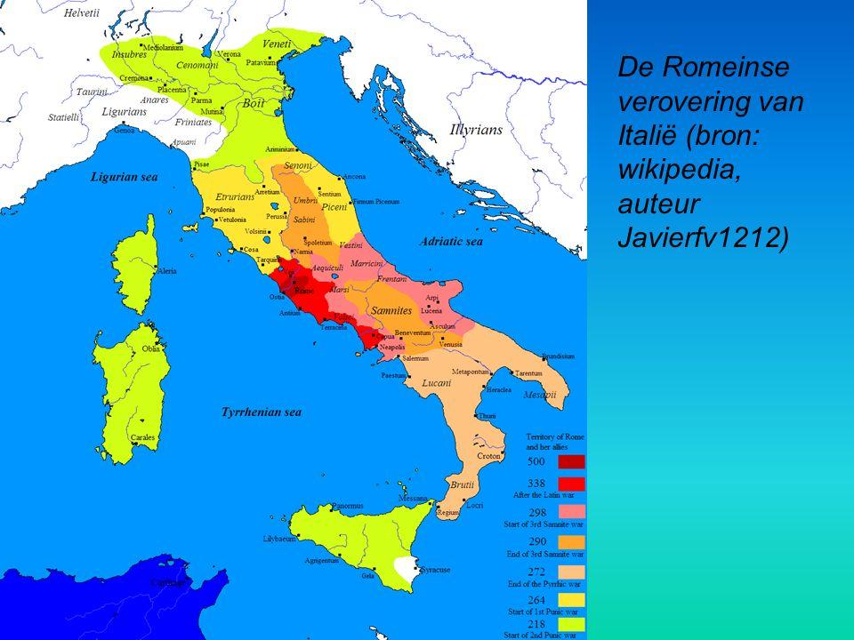 De Romeinse verovering van Italië (bron: wikipedia, auteur Javierfv1212)