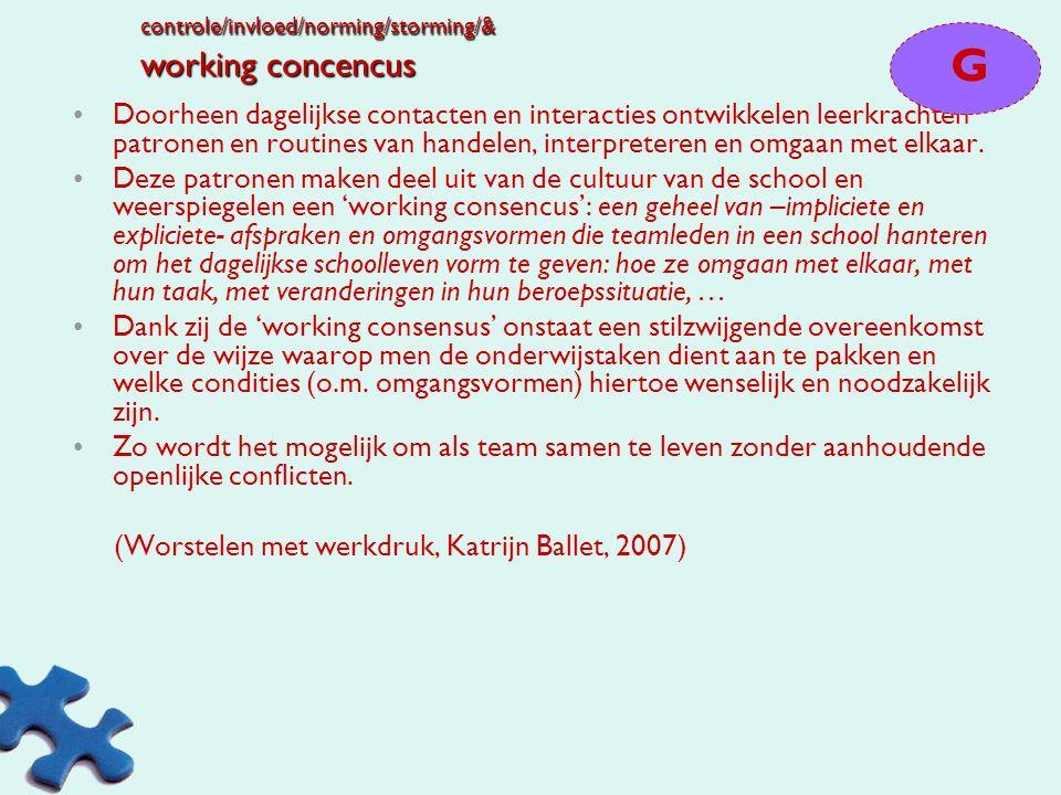 Mediërende processen en factoren Working consensus Ondersteunende collegiale relaties (erkend lidmaatschap/web van loyaliteiten) schoolleider als spil