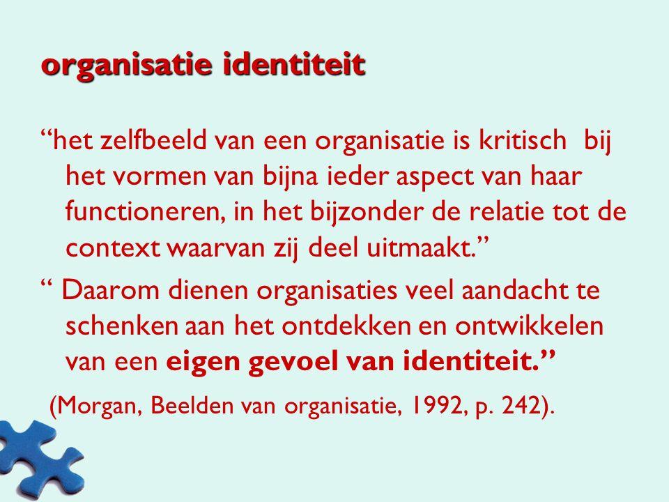 organisatie het creëren van gemeenschappelijke zingeving en gemeenschappelijk begrip, omdat er algemene referentiepunten nodig zijn als we onze activiteiten op een georganiseerde manier willen vormen en laten samenlopen. (Morgan, 1993, pp.